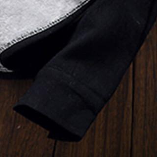 鳄鱼恤(CROCODILE)加绒长袖衬衫男 2018秋冬新款加绒加厚衬衣修身青年休闲 D240-JH003 黑色 XL