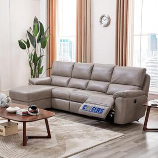芝华仕头等舱沙发 布艺电动功能沙发 现代简约大中小户型客厅整装转角沙发家具 8890 浅褐色 面向沙发左角位