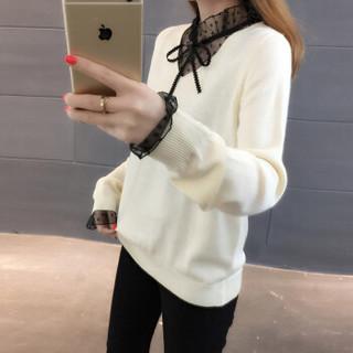 亚瑟魔衣针织衫女2018秋冬新款韩版女装百搭蕾丝V领套头毛衣女打底衫SH-813 白色 均码