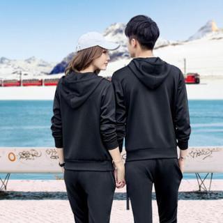 FANDIMU 范迪慕 卫衣女套装冬季新品运动连帽加绒加厚时尚休闲卫衣运动套装女 FDM1805-女款黑色-加绒卫衣两件套-L