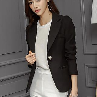 仙丫 2018秋装新品小西装新款韩版西装女修身显瘦长袖纯色小西装女装外套 MMBS8028 宝蓝 M