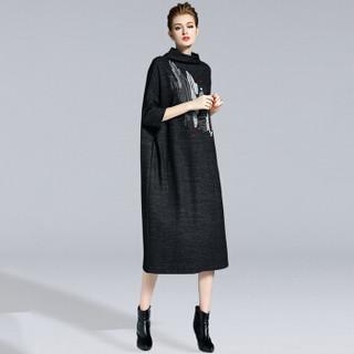她池女装春装新款高领宽松印花长袖连衣裙  T73H2772A10S    黑色 S