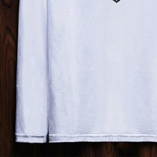 富贵鸟(FUGUINIAO)长袖T恤男装经典圆领印花舒适透气弹力修身打底衫男 灰色 2XL
