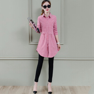 尚格帛 2019春季新品自营女装衬衫女中长款格子收腰长袖打底衬衫 zx1102-956GB 红色 3XL