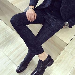 金盾(KIN DON)西服套装 男新款商务休闲韩版修身大码格子英伦西装三件套 C317-TZ50 蓝色 4XL