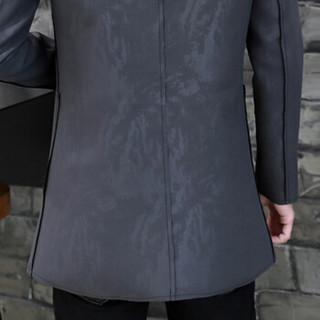 猫人(MiiOW)风衣2019春季新款男士休闲时尚立领纯色中长款大衣外套401-F507深灰色4XL