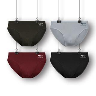 SEPTWOLVES 七匹狼 内裤 男士内裤棉氨包边三角裤4条装 D3314-4B 混色 L 黑色系 灰色系