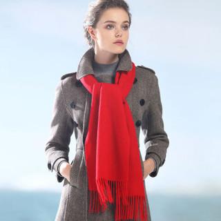 恒源祥羊毛围巾女士秋冬季保暖加长2米经典纯色欧美风围脖厚款年会大红色送礼 50MB1847 大红