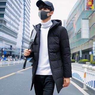 稻草人(MEXICAN)羽绒服男2018年冬季新款男士轻薄男士保暖休闲外套修身中长款上衣 18169DC258987 黑色 XL