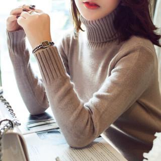 仙丫 2019春季新品女装针织衫女短款高领毛衣打底衫长袖修身时尚内衣 kk102201 粉色 均码