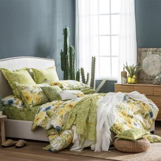 远梦(YOURMOON)天竺纯棉水洗四件套 全棉印花套件被套床单款 浮绿凝香 200*230cm