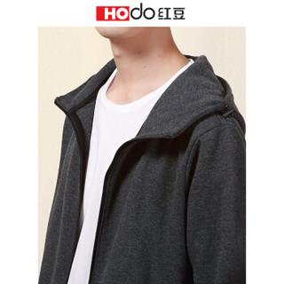 红豆 Hodo男装 卫衣男休闲运动系列休闲针织连帽卫衣 S3深灰 175/92A