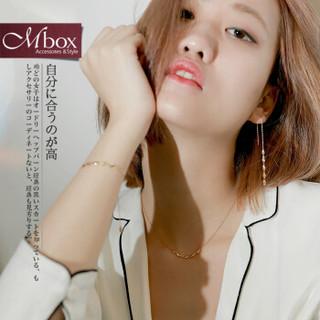 Mbox项链女士925银情侣锁骨链时尚银首饰品简约日韩版结婚记念日送女友送老婆生日礼物圣诞节礼物 金色