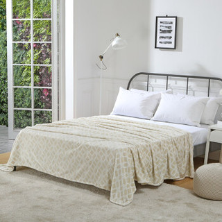御棉堂 毛毯A类春夏空调法兰绒毯子毛巾被午睡法莱珊瑚绒盖毯被宿舍床单褥单双人 几何米色 180*200cm