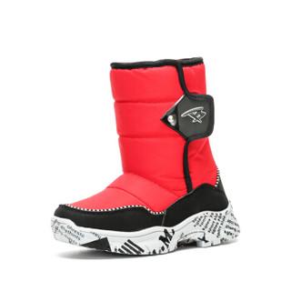 彼得潘童鞋儿童雪地靴冬季男童保暖防滑棉鞋加绒 P6132 黑红 35码/内长22.2cm