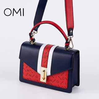 OMI 欧米 单肩包女包包日韩版时尚撞色软皮女士休闲斜挎包潮手提包1187X10101H30DS 蓝色