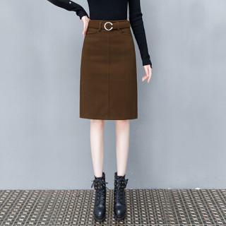 尚格帛 秋冬新品女装半身裙毛呢A字裙中长款时尚气质百搭包臀中裙 HZD09-8688GB 浅驼色 3XL