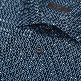 PRADA 普拉达 男士蓝色拼色棉质长袖衬衫 UCN046 1LQ3 F0D57 41码