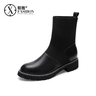 毅雅(yiya)时尚欧美风潮流小圆头粗跟百搭舒适飞织拼接雪地靴女 黑色 35
