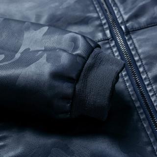 AEMAPE/美国苹果 PU皮夹克男皮衣男士2019春季新品韩版修身帅气机车立领外套 蓝色 L