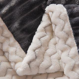 皮尔卡丹 毛毯家纺 双层加厚兔兔绒毛毯被毛巾被单双人办公室午睡毯 深灰 120*200cm