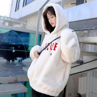 沫欣 2018冬季新品女装卫衣字母羊驼毛加厚套头潮流显瘦流行百搭简约 zjYHY20H01MX 黑色 L
