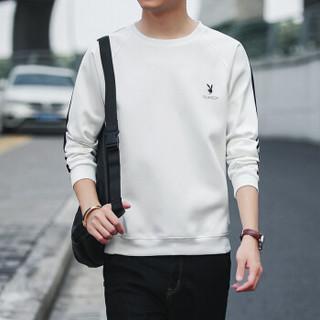 花花公子(PLAYBOY)卫衣2018秋季男士修身套头长袖T恤韩版圆领上衣男装 白色(加绒) M