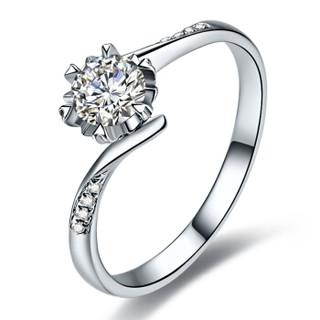 鸣钻国际 错壁雪花 白18k金钻戒 30分钻石戒指结婚求婚女戒指 情侣对戒女款 17号