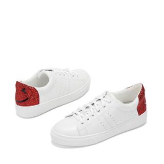 DAPHNE 达芙妮 学院风休闲平底小白鞋 1017404066 红色38