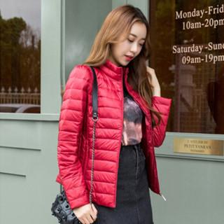 JOY OF JOY 2018冬季新款女士新款轻薄时尚休闲修身百搭简约短款羽绒服女 JWYR189145 酒红 170