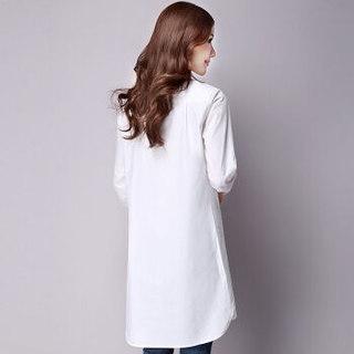 简芷 2019春季文艺森系宽松大码淑女气质长袖棉麻连衣裙 BDCK18Q8501 白色 XL