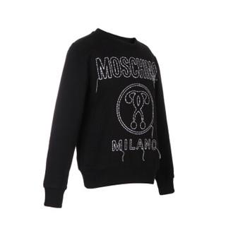 MOSCHINO KIDS 莫斯奇诺 奢侈品童装 男女童黑色棉氨纶字母logo长袖卫衣 HVF01Q LDA02 60100 4A/4岁/104cm