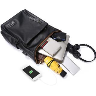 爱迪生(Edison)双肩包15.6英寸笔记本电脑包防泼水男士商务出差旅行充电背包 T188-1 黑色