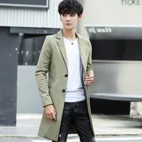 Miiow 猫人 男士休闲时尚翻领纯色中长款青年大衣外套 110-F122