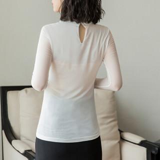 欧偲麦 女士打底衫女秋季2018新款长袖针织衫女韩版百搭翻领时尚上衣小衫气质 ZY-51060 白色 L