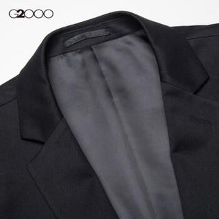 G2000男装商务正装一粒扣男西服 新品青年平驳领标准款男西装00010102 黑色/99 52/180
