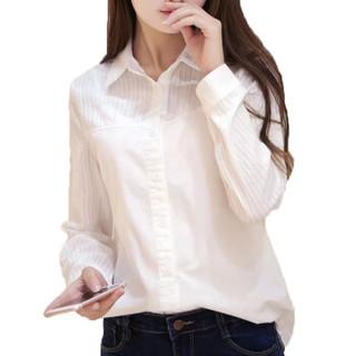 沫欣 2019春季新品女装韩版女短袖打底白衬衫女职业装白衬衣上衣 LLGY02MX 尖领长袖 S