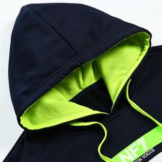 吉普盾 运动套装男2019春季新款青年休闲卫衣开衫外套潮流运动裤两件套 黑色 2XL