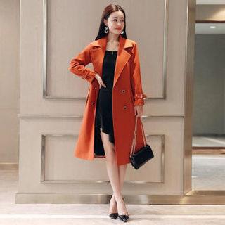 仙丫 2019春季女装新品风衣女时尚纯色潮流气质优雅修身显瘦中长款 AAA0457 红色 L