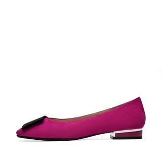 le saunda 莱尔斯丹 时尚休闲圆头套脚方形搭扣粗跟低跟女单鞋 LS 9T25021 桃红色羊皮革+织物 38