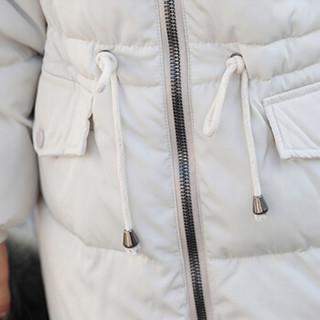 城加(CITYPLUS)2018冬季韩版大毛领收腰过膝抽绳棉服女长款潮 CWMF2018T256 乳白色 M