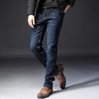 南极人(Nanjiren)加绒牛仔裤男青年修身中腰加厚保暖休闲长裤子 NZKJR 009蓝黑/加绒 31