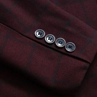 金盾(KIN DON)西服套装 男2018冬季新款大码韩版修身职业正装结婚礼服三件套套装 C317-TZ94 枣红色 L