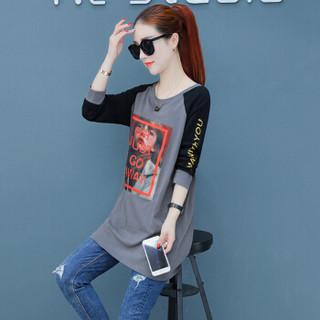 尚格帛 女装T恤女打底T恤衫韩版显瘦印花长袖圆领T恤 HZ3304-1137GB 灰色 L
