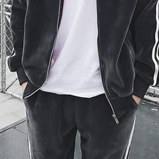 金盾(KIN DON)卫衣套装 2019新款男士时尚简约加绒加厚双面绒保暖运动套装A102-DJ913深灰色XL
