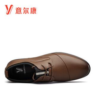 YEARCON 意尔康 男士韩版系带潮流软底商务休闲皮鞋子男 8142ZR90254W 土黄 40
