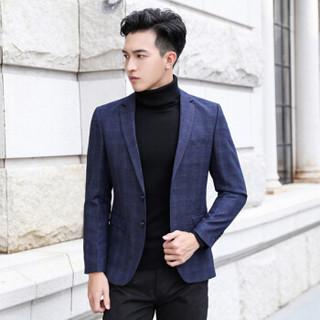 鳄鱼恤(CROCODILE)西服 2018秋冬大码时尚青年男士休闲西装外套 D216-8120 深蓝色 2XL