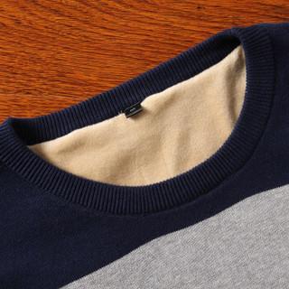 富贵鸟(FUGUINIAO) 加绒毛衣男装修身休闲百搭打底针织衫 灰色 XL