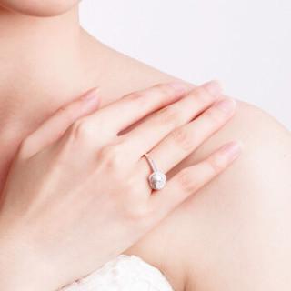 鸣钻国际 浪漫之心 白18k金钻戒女 群镶心形钻石戒指结婚求婚女戒 情侣对戒女款 1克拉 F-G/SI 16号