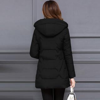 欧偲麦 棉服女秋冬季外套女棉衣女时尚修身显瘦2019新款大码女装 XH-SS18B120 黑色 L